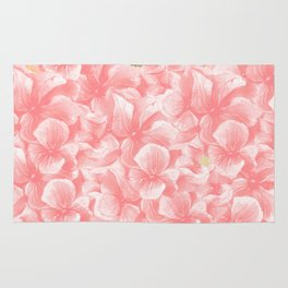 Hand painted coral white faux gold watercolor floral Rug