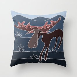 Blue Mountain Moose Throw Pillow
