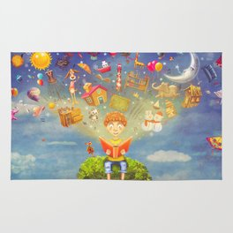 Little boy sitting on the tree and  reading a book, objects flying out Rug