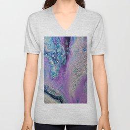 Purple Fluid Acrylic Abstract Painting - Slow Down  III Unisex V-Neck