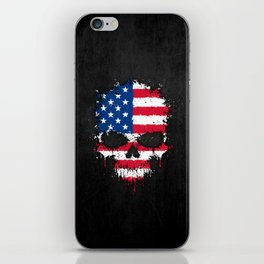 Flag of The United States on a Chaotic Splatter Skull iPhone Skin