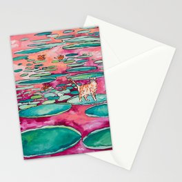 Ginger Cat amongst the Lily Pads on a Pink Lake Stationery Cards