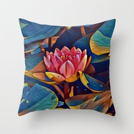Painted Waterlily Throw Pillow