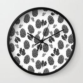 Linocut Pinecones fall autumn nature black and white minimalist botanical gifts Wall Clock