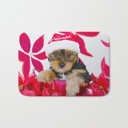 Big Bruiser the Yorkie in a Santa Hat Bath Mat