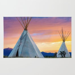 Dual Teepees With Southwest Sunset Rug
