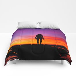 silhouette photography of a woman Comforters