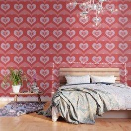Radiating Hearts Pink Wallpaper