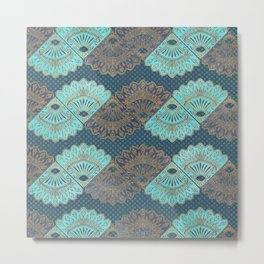 French Folk - vintage gold and turquoise fans on navy blue Metal Print