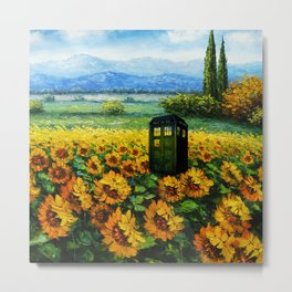 tardis  in the flower garden Metal Print