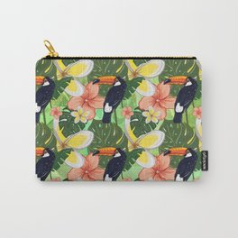 Toucan and Hawaii Hibiscus Pattern Carry-All Pouch