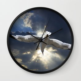 Gull Flying into a Radiant Sunset Wall Clock