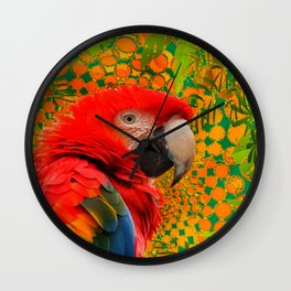MODERN ART RED MACAW GREEN JUNGLE PATTERNED DESIGN Wall Clock