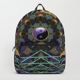 Purple Yin Yang Sacred Geometry Fractals Backpack