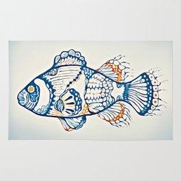 BLUE FISH Digital Painting Rug
