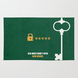 Lab No.4 -Open New Doors Business Quotes Poster Rug