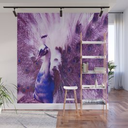 White Purple Peacock Wall Mural