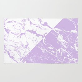 modern color block inverted white purple lavender marble pattern Rug