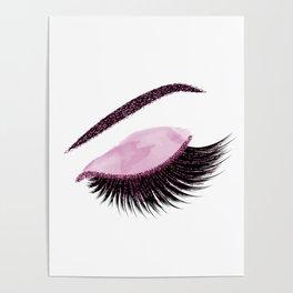 Glittery burgundy lashes Poster