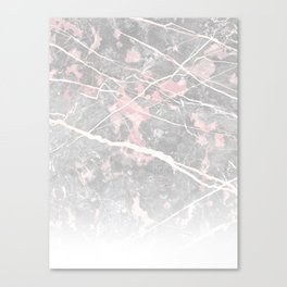 Pastel Pink & Grey Marble - Ombre Canvas Print
