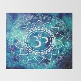 Galaxy Om Mandala Aqua Midnight Blue Throw Blanket