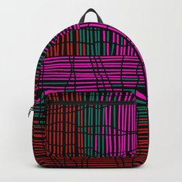 Red, Teal and Pink Vein Line Art on Black Backpack