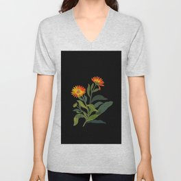 Calendula Officinalis Mary Delany Floral Paper Collage Delicate Vintage Flowers Unisex V-Neck