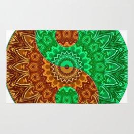 green-brown ying yang Rug