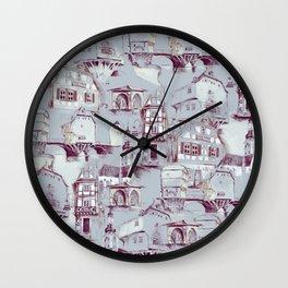 Bad Kreuznach historical buildings pattern Wall Clock