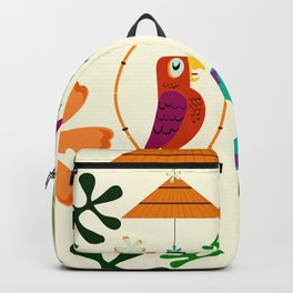 Vintage Modern Tiki Birds Backpack