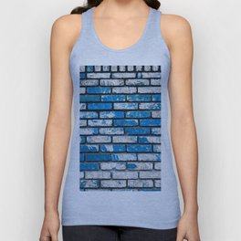brick wall background in blue and white Unisex Tank Top