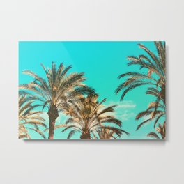 Tropical Palm Trees  - Vintage Turquoise Sky Metal Print