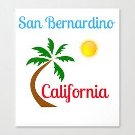 San Bernardino California Palm Tree and Sun Canvas Print