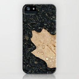Autumn Leaf With Raindrops iPhone Case
