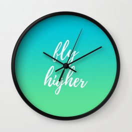 Fly Higher - Blue Green Ombre Wall Clock