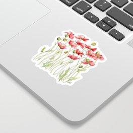 Red Poppies, Illustration Sticker