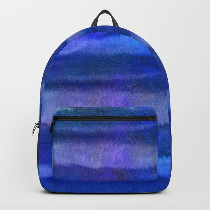 Blue Abstract Watercolor Striped Painting Backpack