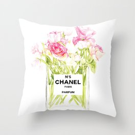 PERFUME FLORAL No.5 Throw Pillow