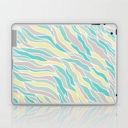 Pastel green teal yellow pink hand painted waves pattern Laptop & iPad Skin