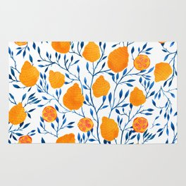 Lemons Botanical Pattern // Blue and Yellow Palette Rug
