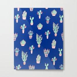 Little cactus pattern - Princess Blue Metal Print