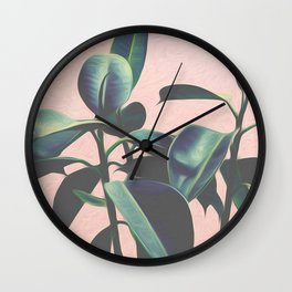 Pink Tropical Leaves Wall Clock
