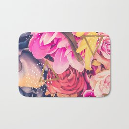 Collage flowers - geometrics Bath Mat