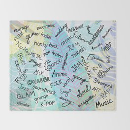 Colourful Music Categories Handwriting Throw Blanket