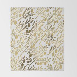 Gold Olive Branches Throw Blanket
