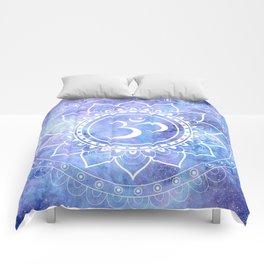 Om Mandala Lavender Periwinkle Blue Galaxy Space Comforters