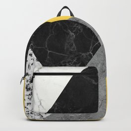 Black and White Marbles and Pantone Primrose Yellow Color Backpack