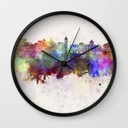 Nice skyline in watercolor background Wall Clock