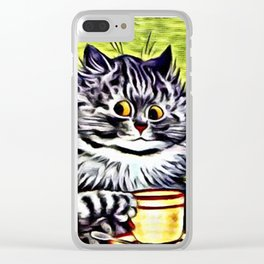 "Louis Wain's Cats ""Kitty On Coffee Break"" Clear iPhone Case"