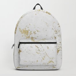 White and gold faux marble Backpack